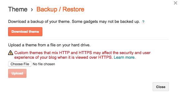 Blogspot theme backup