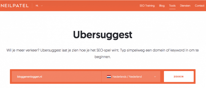 Ubersuggest keyword tool